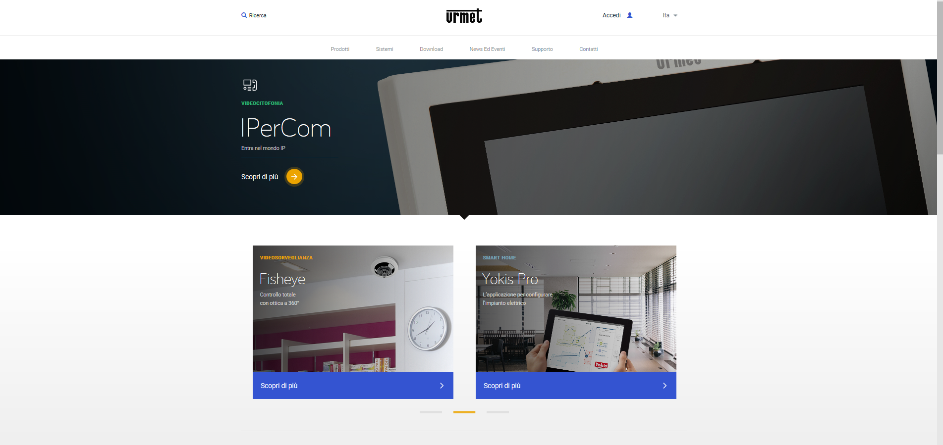 On line il nuovo sito aziendale urmet consultabile anche for Sito mobili online